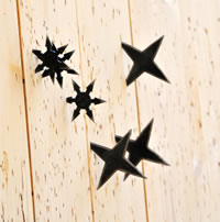 throwing stars stuck in board