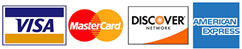 Pay with Visa, Mastercard, American Express or Discover