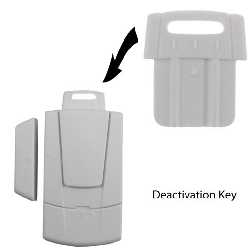 door window alarm with deactivation key